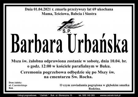 Zmarła śp. Barbara Urbańska - wieloletni nauczyciel i wychowawca w naszej szkole